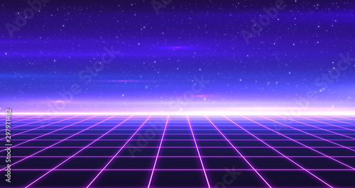 In de dag Violet Retro Sci-Fi Background Futuristic Grid landscape of the 80`s. Digital Cyber Surface. Suitable for design in the style of the 1980`s. 3D illustration
