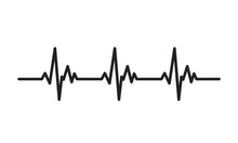 Heartbeat Line Icon. Pulse Trace Symbol. EKG And Cardio Concept For  Healthy And Medical Illustration.