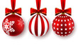 Set of Beautiful Christmas red balls with bows isolated on white background.