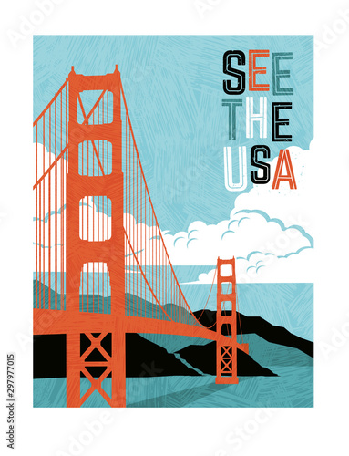 Retro style travel poster design for the United States Canvas Print