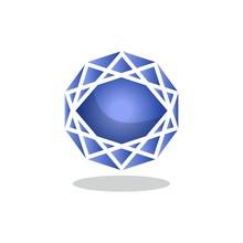 Sapphire Stone Flat Icon, Vect...