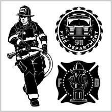 Fire Department Vector Set - Fireman S And Emblems - Badges, Elements.