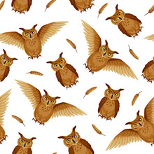 Vector Seamless Background With Brown Owls And Owl Feathers On A White Background.