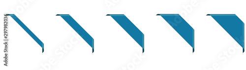 Photo set of blue corner ribbon banners