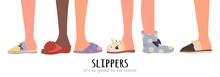 Set Of Different Slippers. Ill...