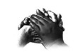canvas print picture - A black and white hand together