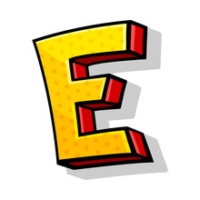 Colorful Yellow And Red Capital Letter E Comic Style Vector Illustration