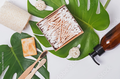 Cadres-photo bureau Spa Natural eco hair and body care products lying on monstera leaves