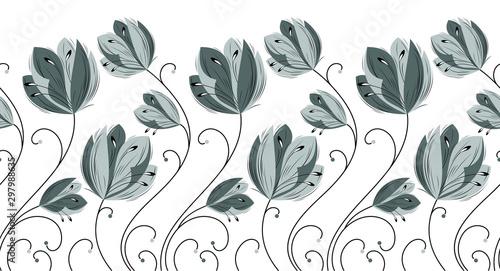 Fotografiet  Seamless creative monochrome floral border