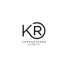 Initial Letter KR Logo With Ci...