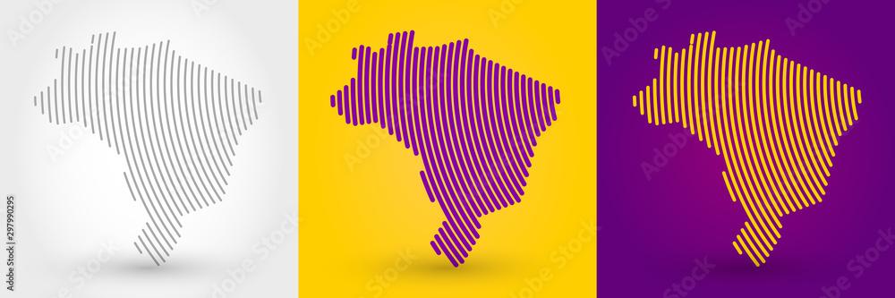 Paski mapę Brazylii <span>plik: #297990295 | autor: mdesignstudio</span>