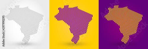 Fototapeta Striped map of Brazil obraz