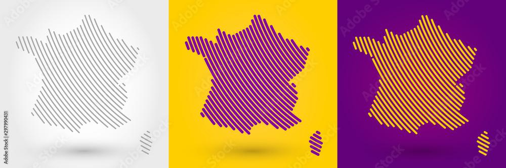Fototapeta Striped map of France