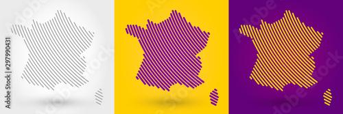 Fototapeta Striped map of France obraz