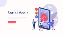 People Characters Standing Near Smartphone And Looking At New Social Media Post. Woman And Man Leaving Comments And Likes For Photo In Mobile App. Flat Isometric Vector Illustration.