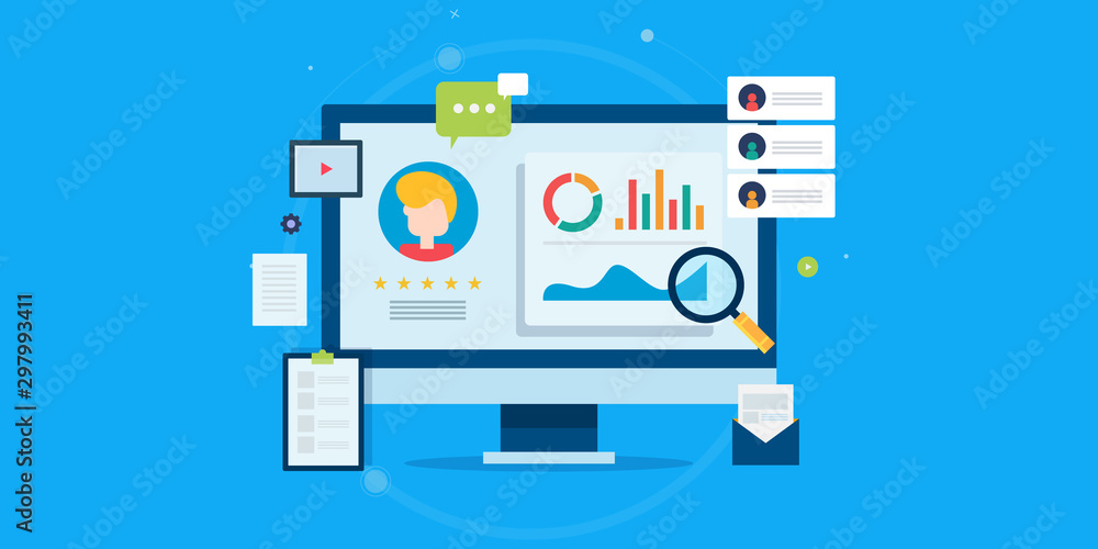 Fototapeta Customer profile analysis, client database, crm system, customer management, business development concept. Flat design web banner template.