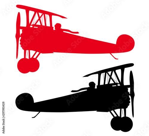 Vector biplanes silhouettes Wallpaper Mural