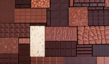 Chocolate Background, Texture Of Natural Cocoa Bars.