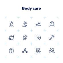 Body Care Line Icon Set. Probl...