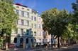 canvas print picture - sanierte altbauten im paulusviertel in halle saale, deutschland