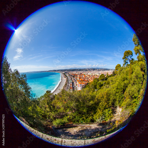 Fotobehang Nice Nice, France, October 8, 2019. Picturesque Park on Château Hill. Fisheye view.