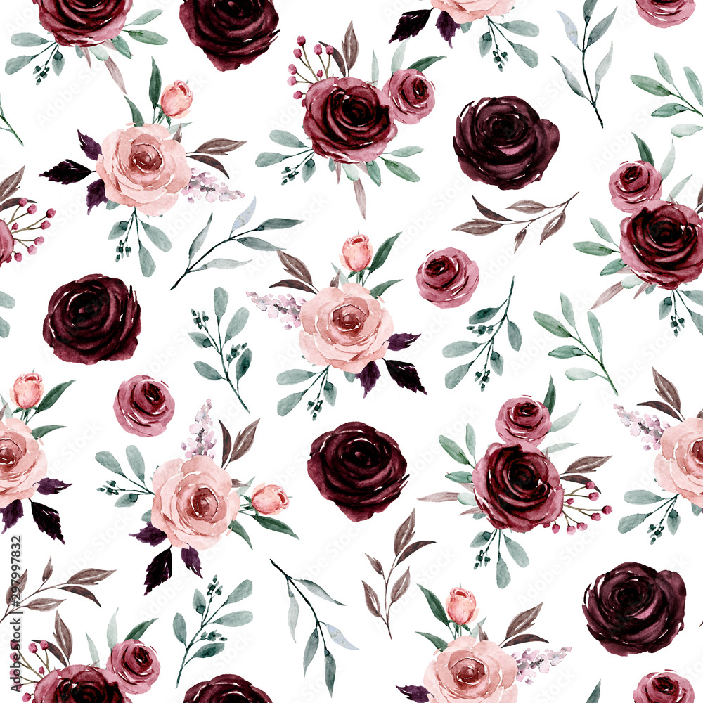 Fototapety, obrazy: Seamless background, floral pattern with watercolor flowers pink and burgundy roses. Repeat fabric wallpaper print texture. Perfectly for wrapped paper, backdrop.