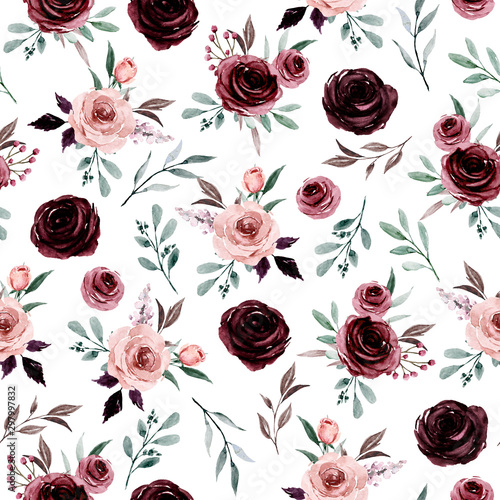 Türaufkleber Künstlich Seamless background, floral pattern with watercolor flowers pink and burgundy roses. Repeat fabric wallpaper print texture. Perfectly for wrapped paper, backdrop.