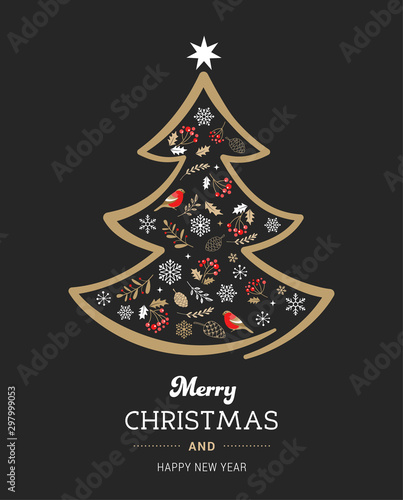 Elegant gold and black Christmas tree with Xmas elements Canvas Print