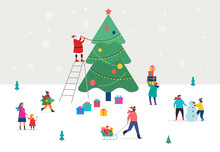 Merry Christmas, Winter Scene With A Big Xmas Tree And Small People, Young Men And Women, Families Having Fun In Snow