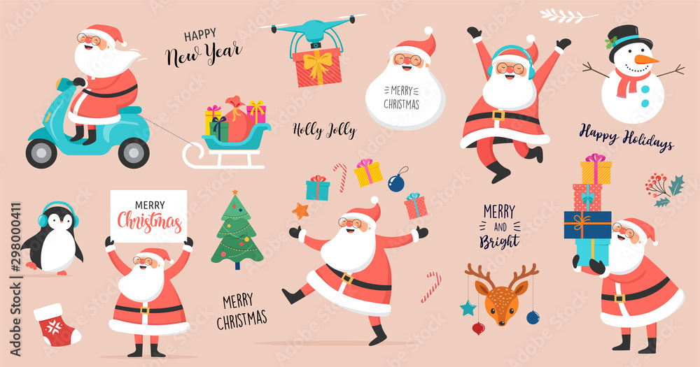Fototapety, obrazy: Collection of happy Santa Clauses, dancing, jumping, holding sign, driving on scooter
