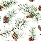 Watercolor botanical seamless pattern with pine branches and cones. Hand painted winter holiday plants isolated on white background. Floral illustration for design, print, fabric or background. - 298000460