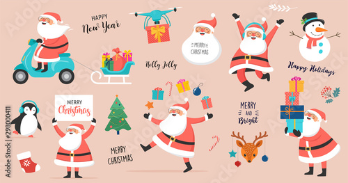 Collection of happy Santa Clauses, dancing, jumping, holding sign, driving on scooter - 298000411
