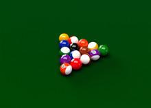 American Pool Billiards Balls Table Set Up 3D Render
