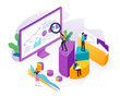 Data analysis, Seo analysis, big data research, website analytics concept with people, graphs and charts illustration