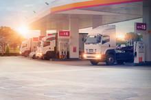 Trucks Refueling In Petrol Sta...