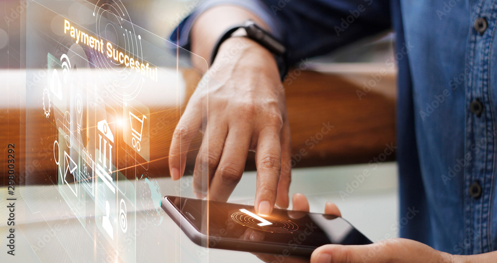 Fototapeta Businessman online payment on smart phone on virtual interface, technology and innovative, banking and online shopping.