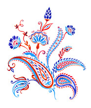 Bouquet In Paisley Style, Decorative Composition For Design, Watercolor Painting On Isolated White Background.
