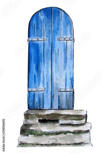 Photo old blue wooden door with stairs watercolor