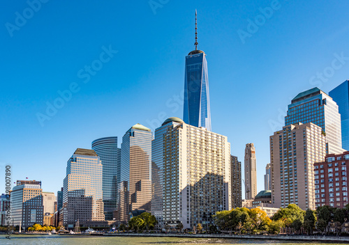 New York City, USA, One World Trade Center building in the urban Canvas Print