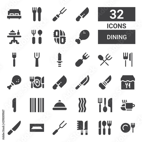Pinturas sobre lienzo  dining icon set