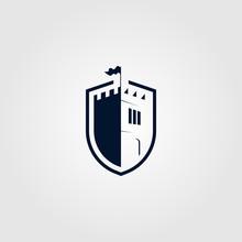 Castle Shield Logo Vector Icon Illustration Design