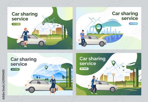 Foto Drivers using car sharing service set