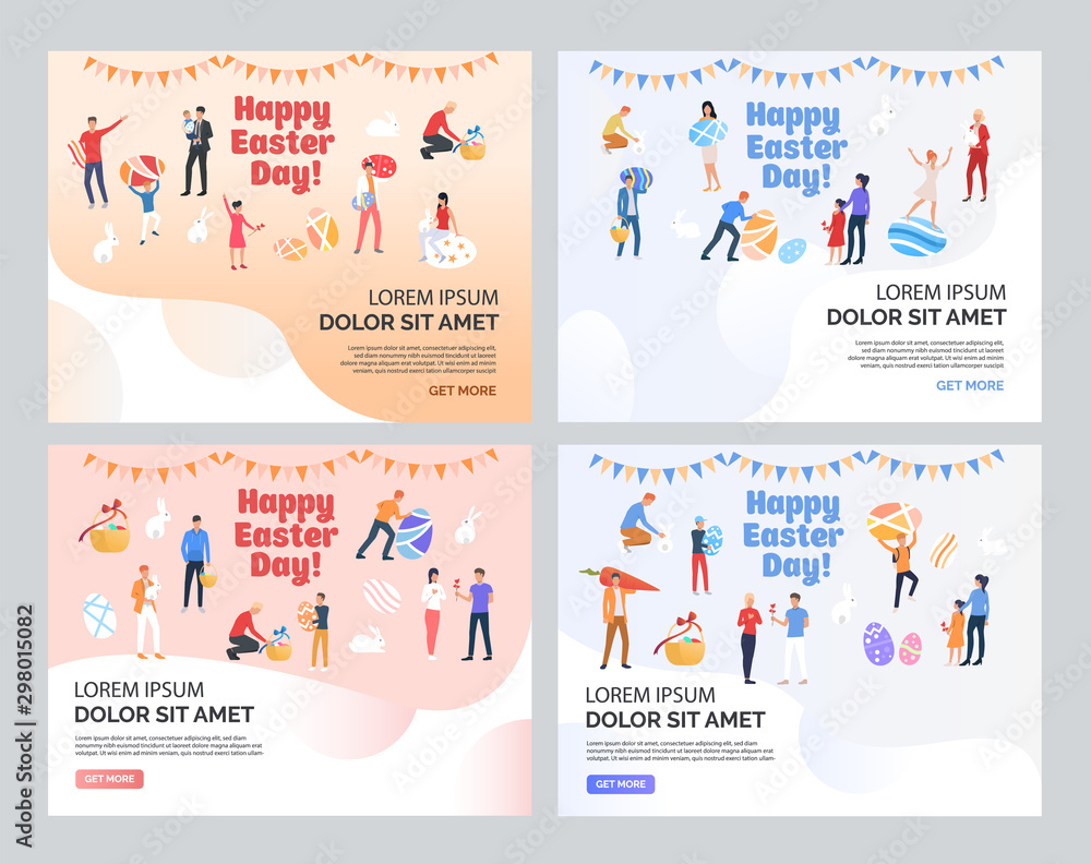 Fototapety, obrazy: Happy Easter with text sample set. Families celebrating Easter, people holding and painting eggs. Flat vector illustrations. Holiday concept for banner, website design or landing web page