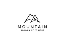 Simple Modern Mountain Adventure Logo Design