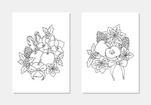 Vector Winter Bouquet Amarilis Apple Fruit Holly Poinsettia Sweet Cane Coloring Page Outline Illustration