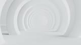 Fototapeta Do przedpokoju - Abstract of white space architecture,Perspective of future design building