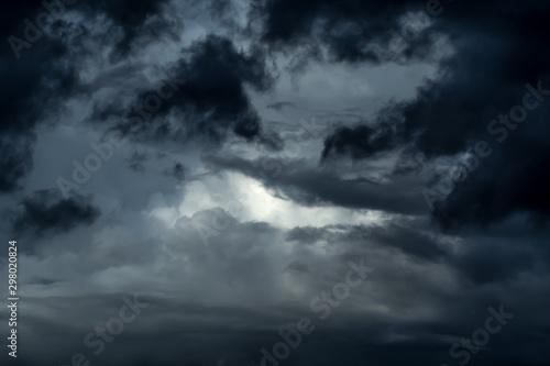 Fototapeta Dramatic ominous stormy sky with dark thunderclouds