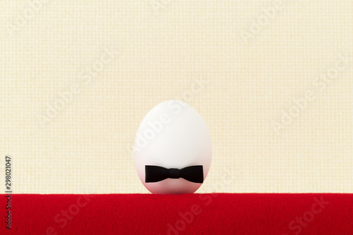 Shot of white egg with black bow. Concept of newborn or beginner Canvas Print