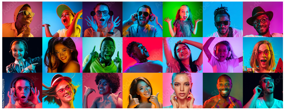 Fototapeta Close up portrait of young people in neon light. Human emotions, facial expression. People, astonished, screaming and crazy in happiness. Creative bright collage made of different photos of 15 models.