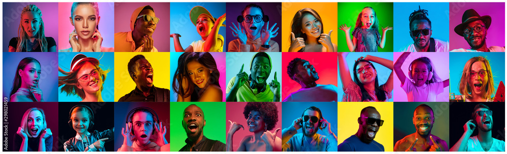 Fototapeta Close up portrait of young people in neon light. Human emotions, facial expression. People, astonished, screaming and crazy in happiness. Creative bright collage made of different photos of 17 models.